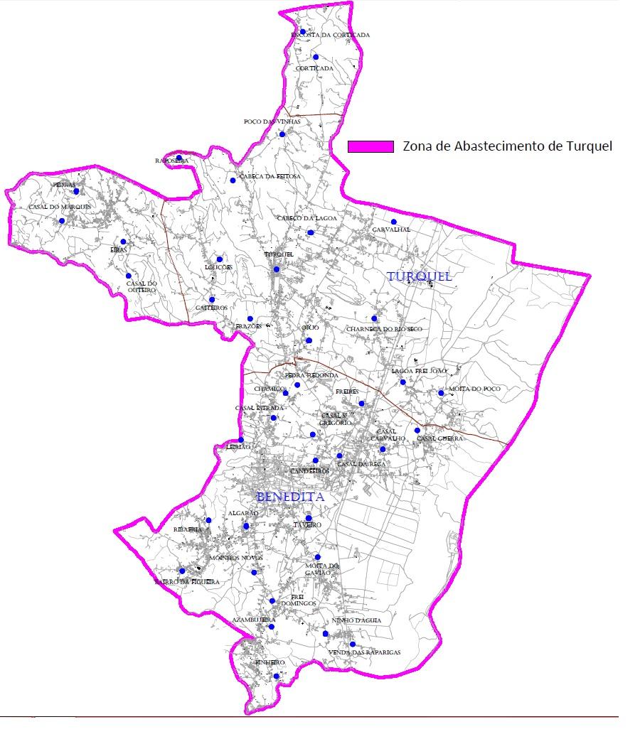 Mapa da Zona de Abastecimento de Turquel