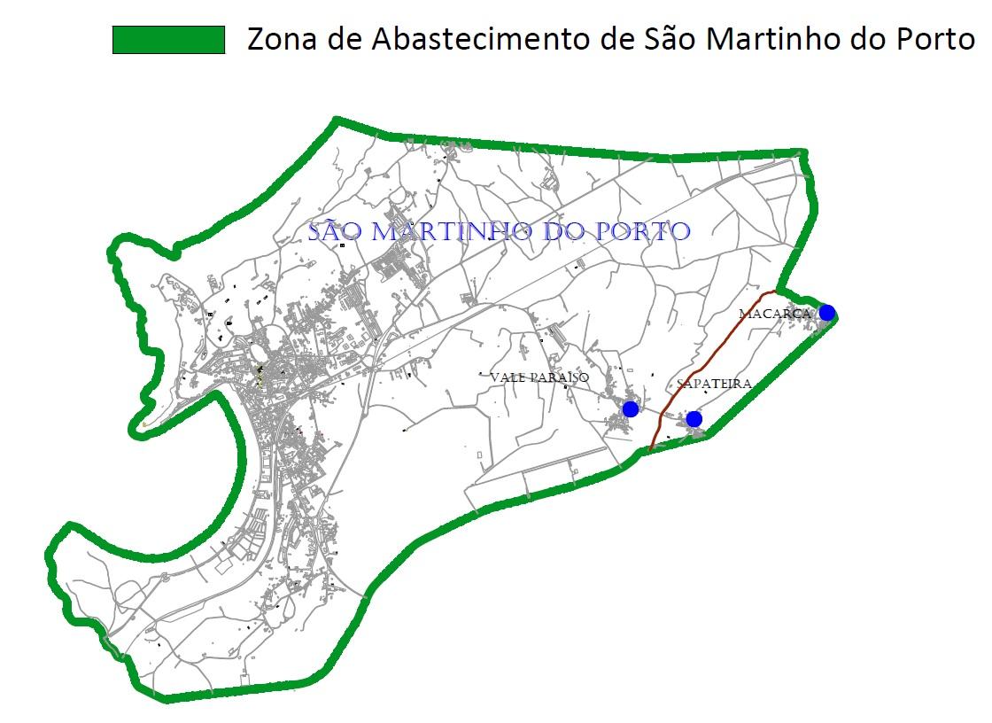 Mapa da zona de abastecimento de São Martinho do Porto