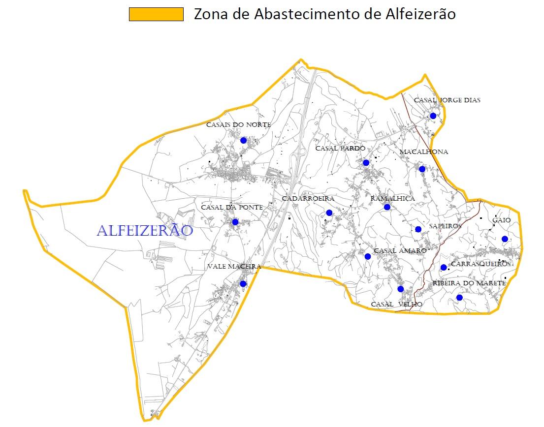 Mapa da zonas de abastecimento de Alfeizerão