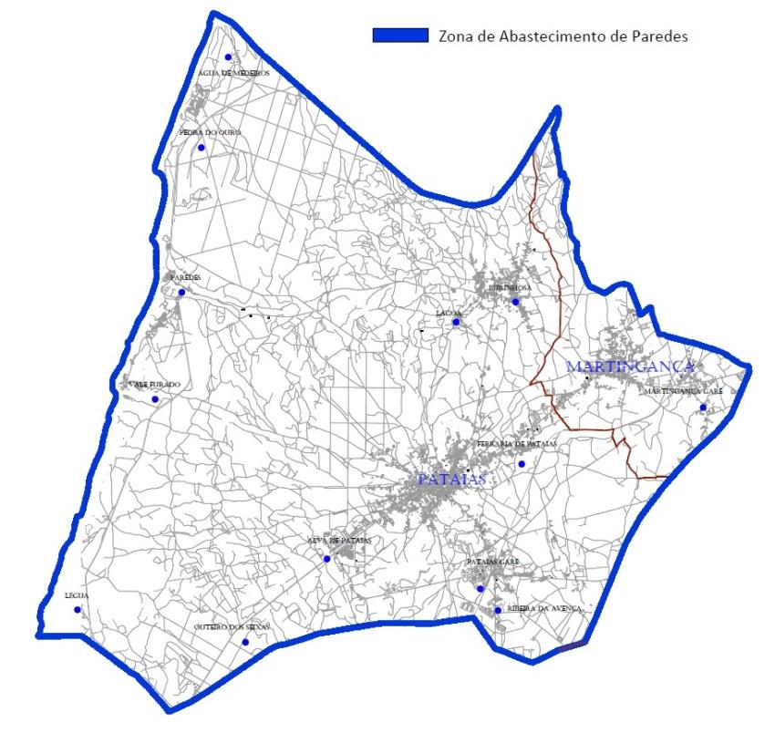 Mapa da zona de abastecimento de Paredes de Vitória