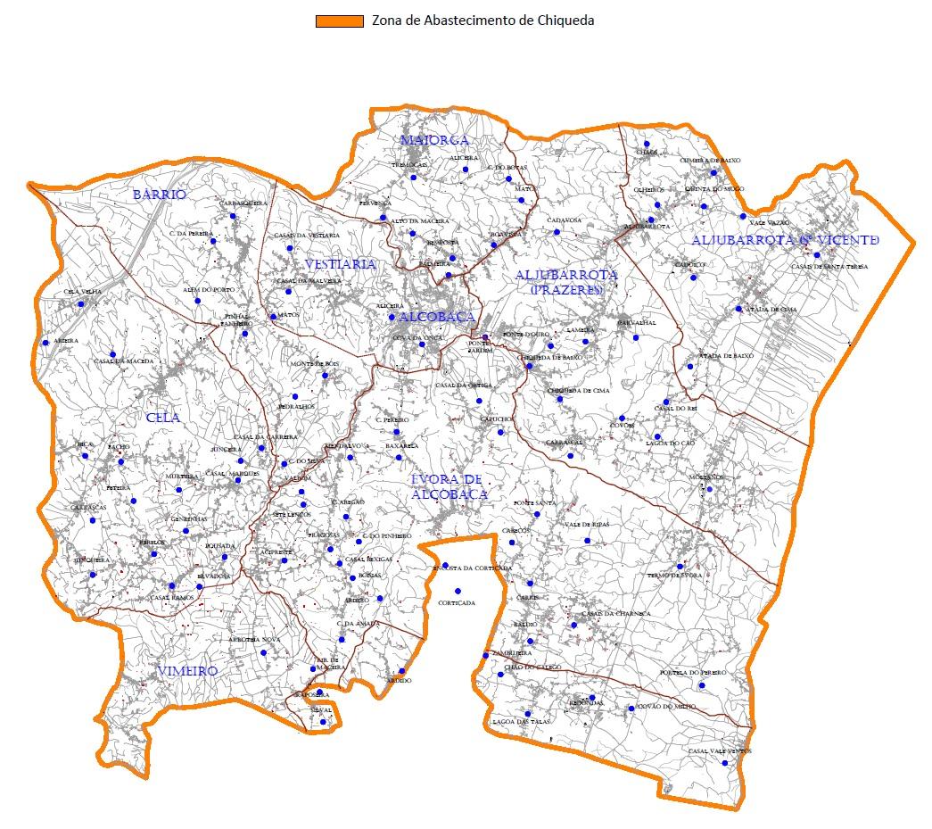 Mapa da zona de abastecimento de Chiqueda