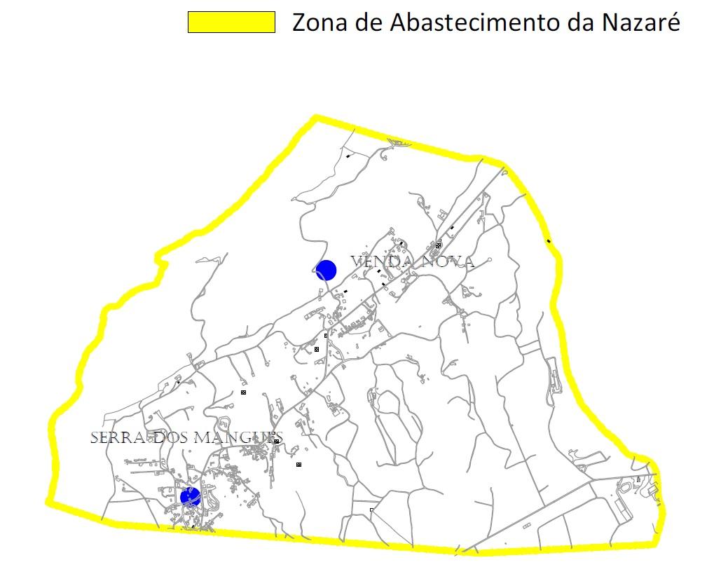 Mapa da zona de abastecimento da Nazaré